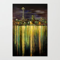 Seattle Night Skyline #3 Canvas Print