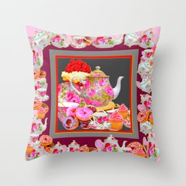 AFTERNOON TEA PARTY  & PASTRY  DESSERTS Throw Pillow