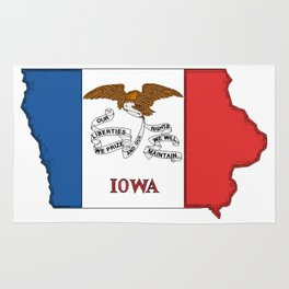 Iowa Map with Iowan Flag Rug