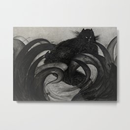 A Black Cat Is Resting in the Grass Metal Print