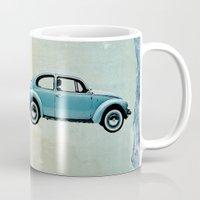 vw Mugs featuring Water Landing VW beetle by Vin Zzep