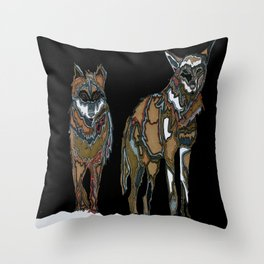 Two wolves in the snow Throw Pillow