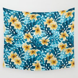 Tropical Hibiscus Pattern (white) Wall Tapestry