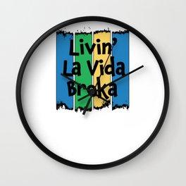 Livin' La Vida Broka - Funny Quote Gift - Retro Colrs & Black Lettering Design Wall Clock