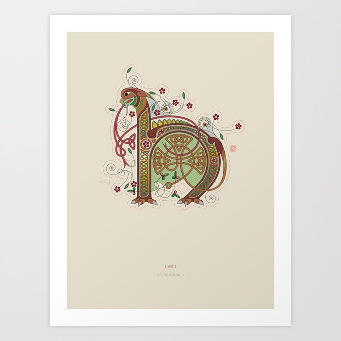 Celtic Initial H Art Print