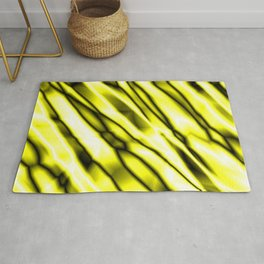 Shiny metal crooked mirror with yellow reflective diagonal stripes. Rug