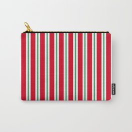Christmas Stripe - Wide Small Wide Carry-All Pouch