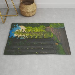 Vintage Japanese Woodblock Print Kawase Hasui Mystical Japanese forest Tall Green Trees Rug
