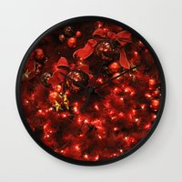 holiday Wall Clocks featuring holiday by littlesilversparks