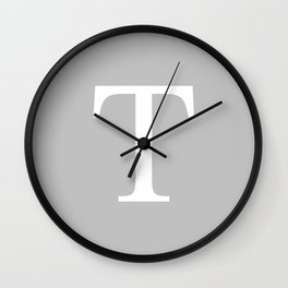 Silver Gray Basic Monogram T Wall Clock