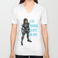legend of korra V-neck T-shirts featuring Commander Korra by comickergirl