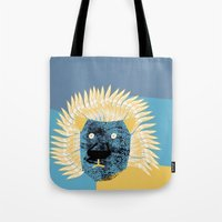 leon Tote Bags featuring Lion leon by yael frankel