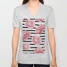 Simply Drawn Stripes and Roses Unisex V-Neck