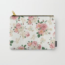 Vintage Rose Pattern Carry-All Pouch