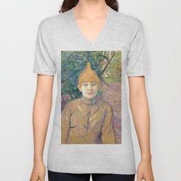 """Henri de Toulouse-Lautrec """"The Streetwalker (Also Known As Casque D'Or)"""" Unisex V-Neck"""