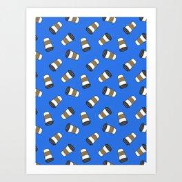 ditsy coffee on blue Art Print