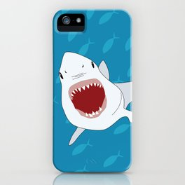 Shark Attack Underwater With Fish Swimming In The Background iPhone Case