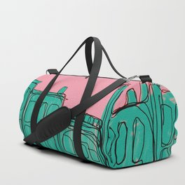 pink and green cityscape Duffle Bag