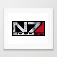 n7 Framed Art Prints featuring N7 Solider by Draygin82