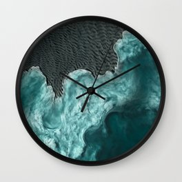 """""""Sea foam dancing on the blue ocean and gray sand"""" Wall Clock"""