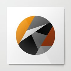 Metallic Moon - Abstract, metallic textured geometric moon space artwork Metal Print