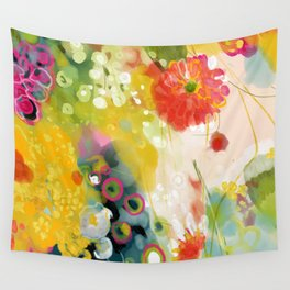 abstract floral art in yellow green and rose magenta colors Wall Tapestry