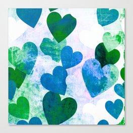 Fab Green & Blue Grungy Hearts Design Canvas Print