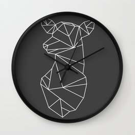 Geometric Doe (White on Grey) Wall Clock
