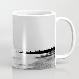 black and white Southwold beach photograph Coffee Mug