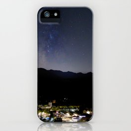 Watercolor Nightscape Milky Way over Estes Park from Knoll Willows Open Space 01 iPhone Case