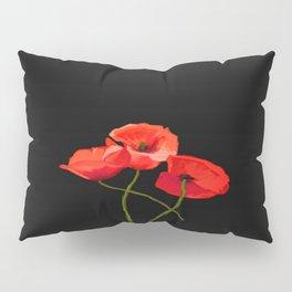 3 Poppies on Black Pillow Sham