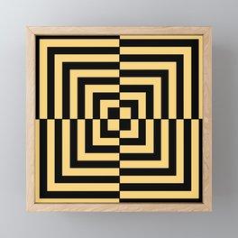 Graphic Geometric Pattern Minimal 2 Tone Illusion Squares (Golden Yellow & Black) Framed Mini Art Print