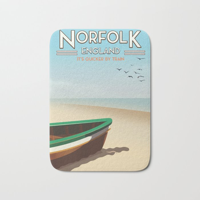 Norfolk Vintage Style travel poster Bath Mat