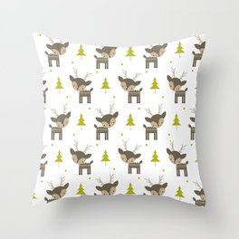 Deer and Trees Throw Pillow