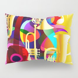 Colorful music instruments with guitar, trumpet, musical notes, bass clef and abstract decor Pillow Sham