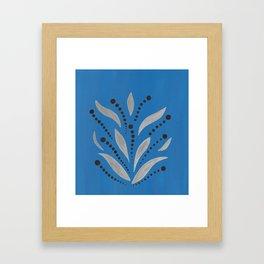 Silver Leafs – Blue Bell – Scandinavian Folk Art Framed Art Print