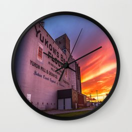 Yukon's Best - Grain Elevator at Sunset Along Route 66 in Yukon Oklahoma Wall Clock