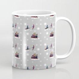 Kids on Sleds with Snowflakes Coffee Mug