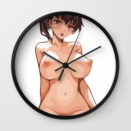 beach anime hentai boobs girl chick sexy hot nasty tits nude naked bed mouth skirt hair wow Wall Clock