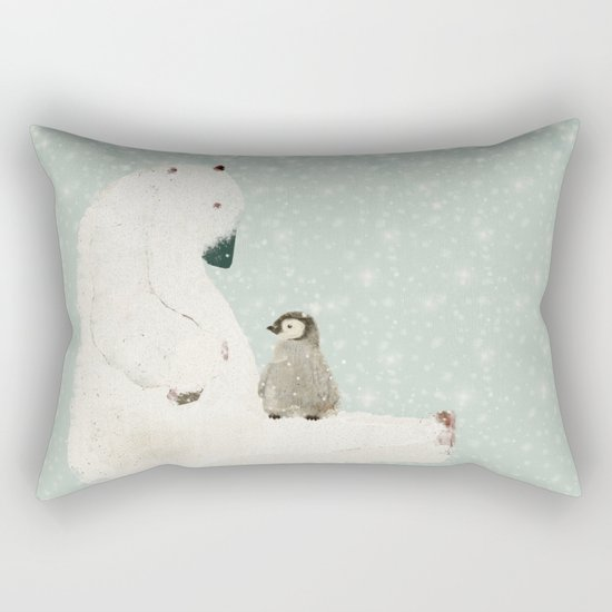 penguin and bear Rectangular Pillow