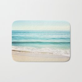 Ocean Seascape Photography, Aqua Beach Sea Landscape, Turquoise Teal Coastal Waves Bath Mat