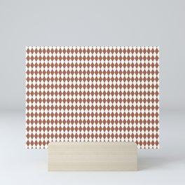 Sherwin Williams Cavern Clay and White Harlequin, Rhombus, Diamond Pattern Mini Art Print