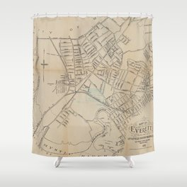 Vintage Map of Everett MA (1892) Shower Curtain