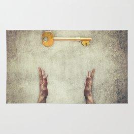 golden key symbol Rug
