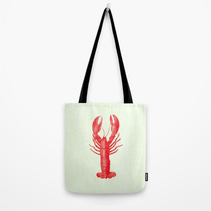Pink Lobster on Linen Nautical Decor Tote Bag