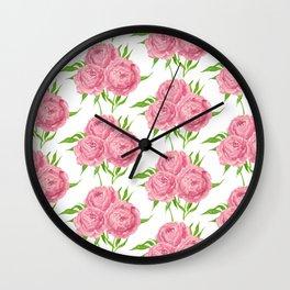 Peony bouquet watercolor pattern Wall Clock