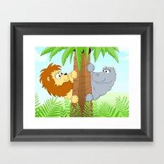 Hiding hippo and lion Framed Art Print