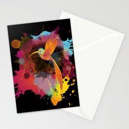 Hummingbird splash abstract Stationery Cards