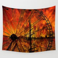 ferris wheel Wall Tapestries featuring Ferris wheel by  Agostino Lo Coco