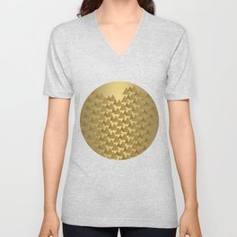 BRUSHED GOLD TRIANGLES Unisex V-Neck